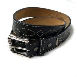 Ariat Black Leather Belt With Silver Buckle